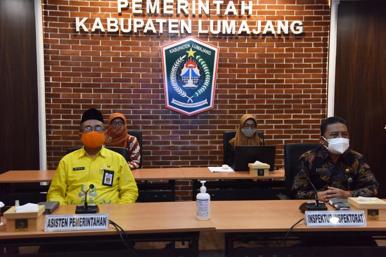 Pemkab Lumajang Ikut Rakor Pemberantasan Korupsi Terintegrasi di Wilayah Provinsi Jawa Timur Lewat Virtual