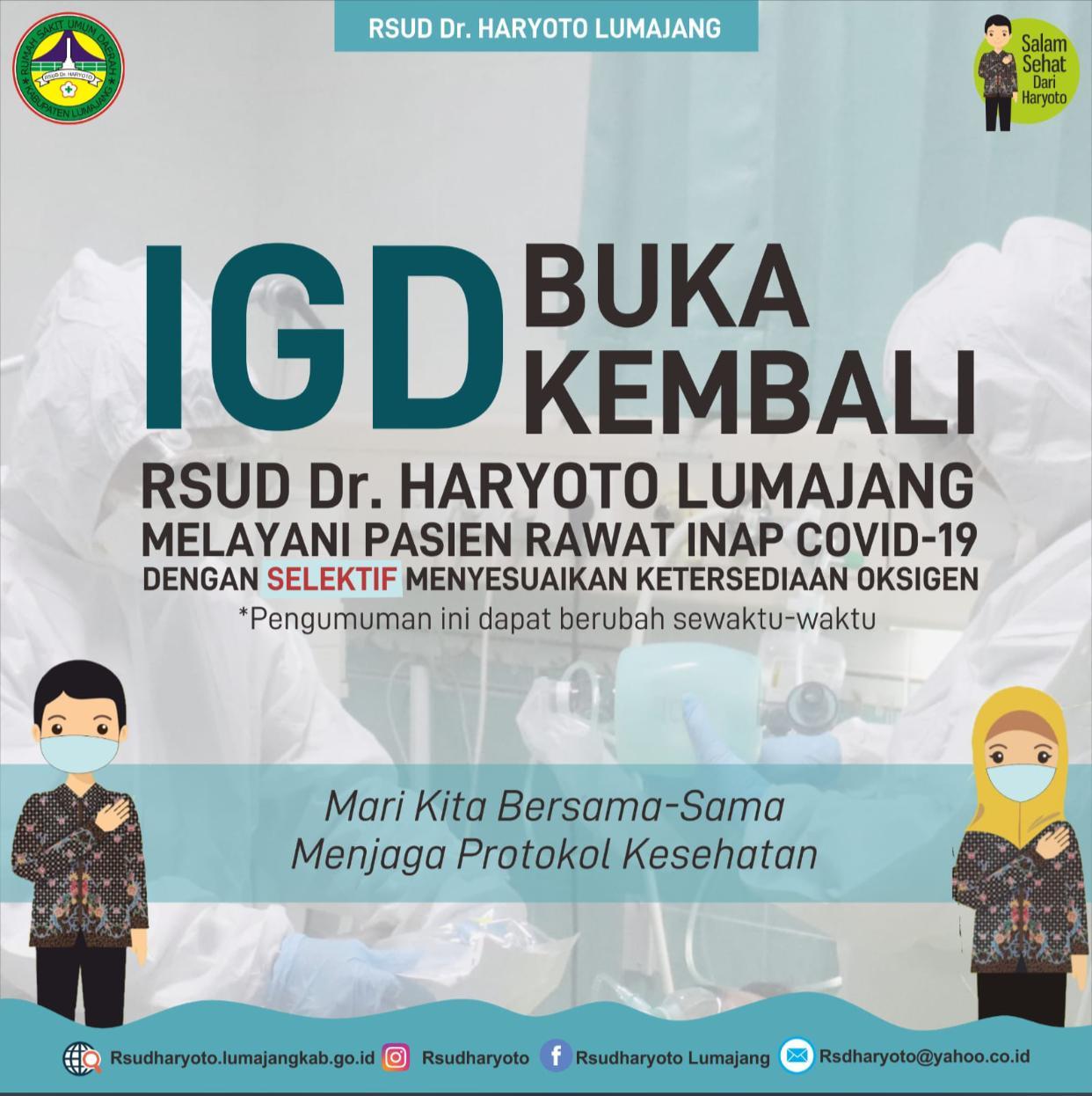 IGD RSUD dr. Haryoto Lumajang Kembali Dibuka, Stok Oksigen Normal